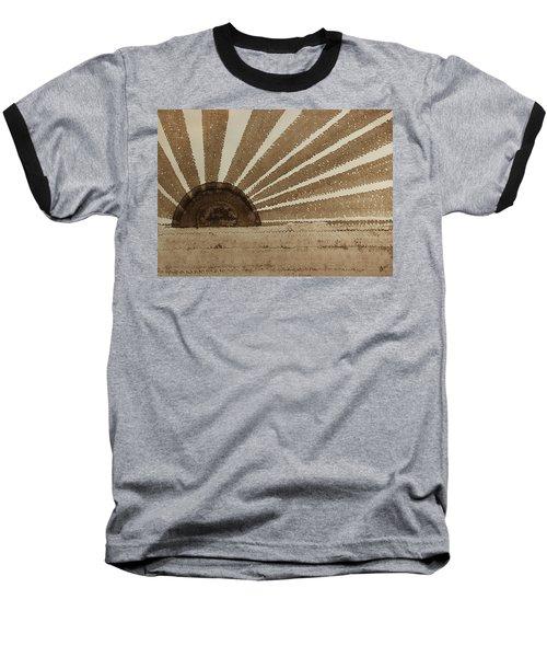 Sepia Sunset Original Painting Baseball T-Shirt by Sol Luckman