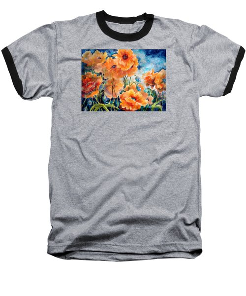 September Orange Poppies            Baseball T-Shirt
