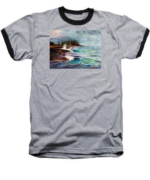 September Storm Lake Superior Baseball T-Shirt by Kathy Braud