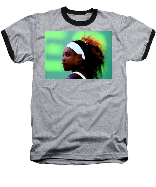 Serena Williams Match Point Baseball T-Shirt by Brian Reaves