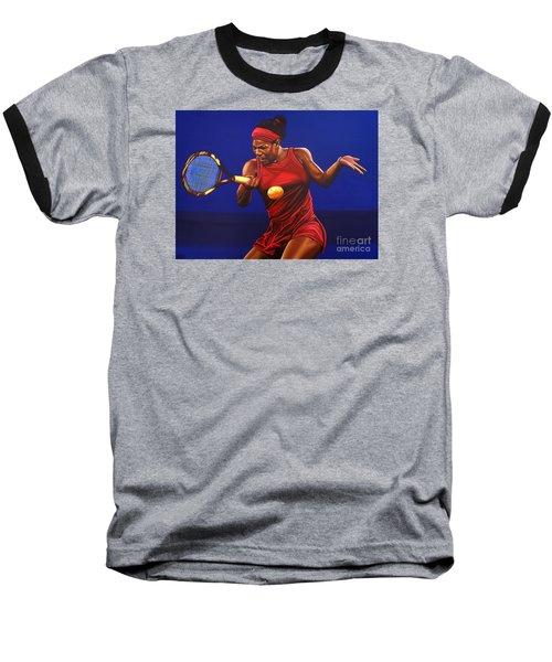 Serena Williams Painting Baseball T-Shirt by Paul Meijering