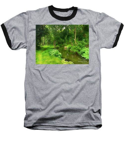 Serene Reflections Baseball T-Shirt by Becky Lupe