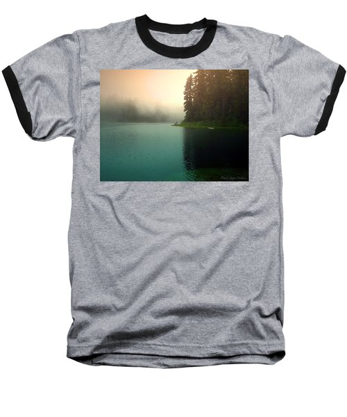 Serenity On Blue Lake Foggy Afternoon Baseball T-Shirt by Joyce Dickens