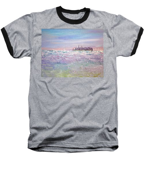 Serenity Sky Baseball T-Shirt by George Riney
