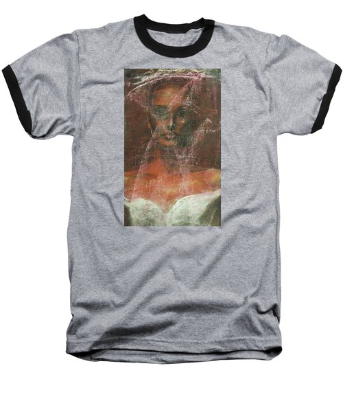 Baseball T-Shirt featuring the painting Serious Bride Mirage  by Jarmo Korhonen aka Jarko