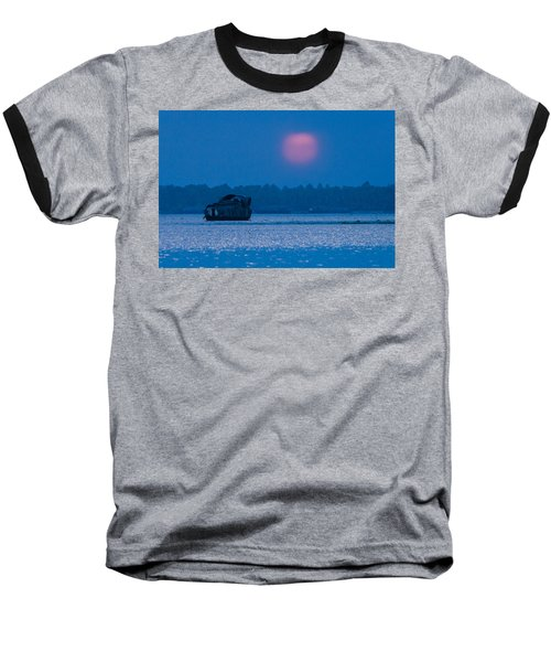 Setting Sun And Boat Baseball T-Shirt