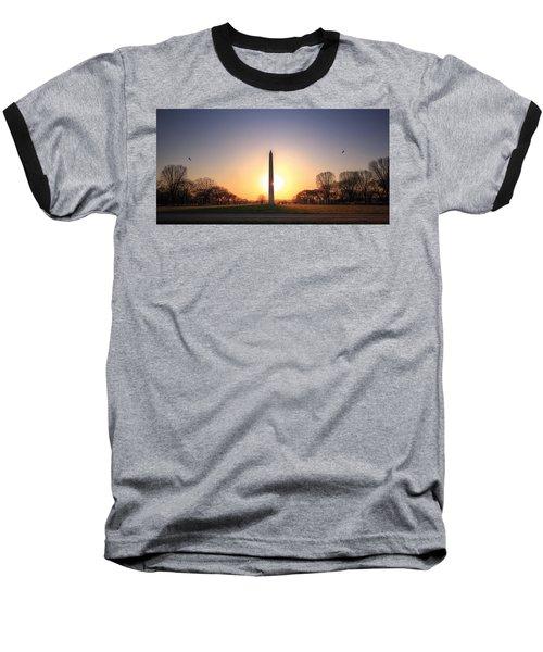 Setting Sun On Washington Monument Baseball T-Shirt
