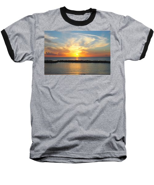 Seven Mile Sunset Over Grand Cayman Baseball T-Shirt by Amy McDaniel