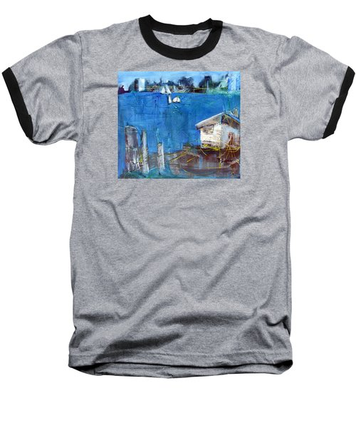 Baseball T-Shirt featuring the painting Shack On The Bay by Betty Pieper