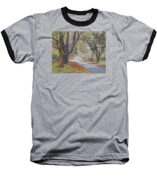 Shadow And Fog Down Beautiful Atlantic Avenue Baseball T-Shirt by Barbara Barber