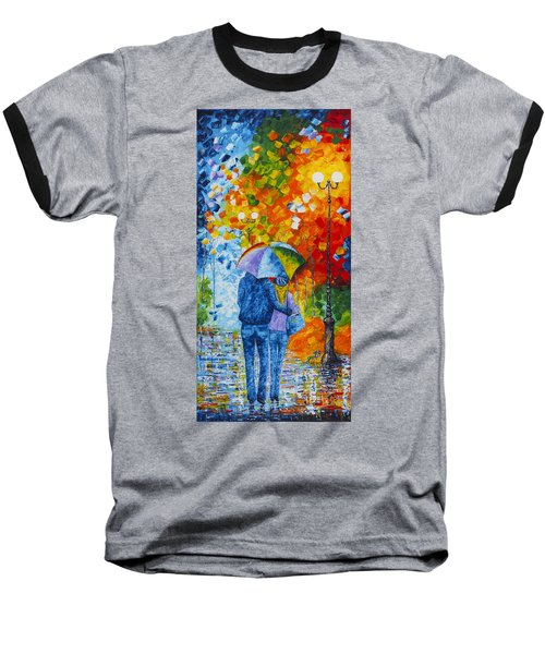 Baseball T-Shirt featuring the painting Sharing Love On A Rainy Evening Original Palette Knife Painting by Georgeta Blanaru