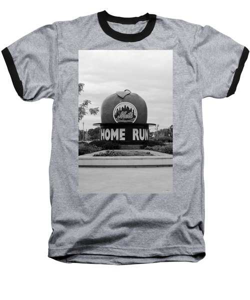 Shea Stadium Home Run Apple In Black And White Baseball T-Shirt by Rob Hans