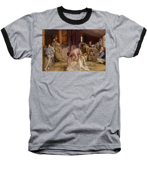 Shearing The Rams  Baseball T-Shirt by Tom Roberts