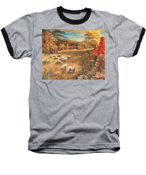Sheep In October's Field Baseball T-Shirt by Joy Nichols
