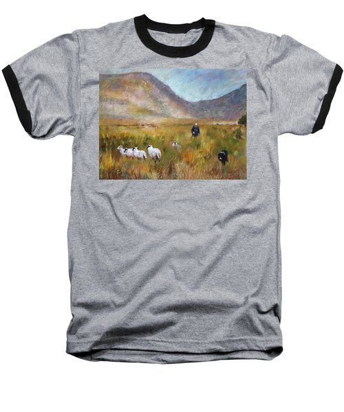 Baseball T-Shirt featuring the drawing Shepherd And Sheep In The Valley  by Viola El