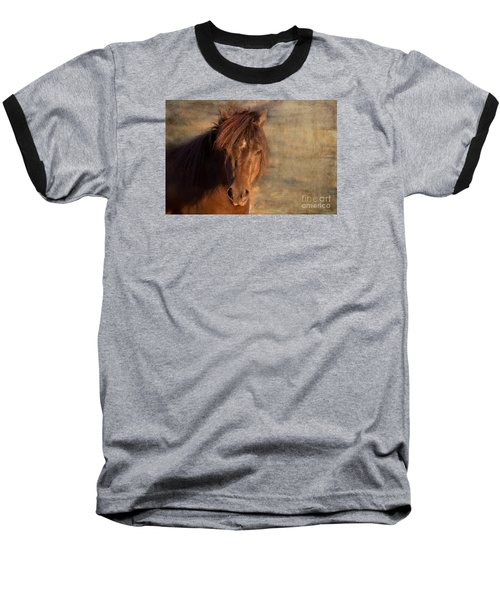 Shetland Pony At Sunset Baseball T-Shirt