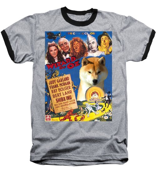 Shiba Inu Art Canvas Print - The Wizard Of Oz Movie Poster Baseball T-Shirt