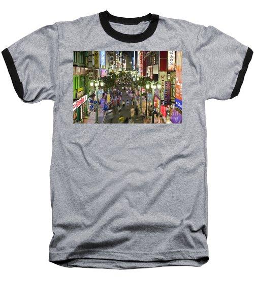 Shinjuku Street Scene At Night Baseball T-Shirt