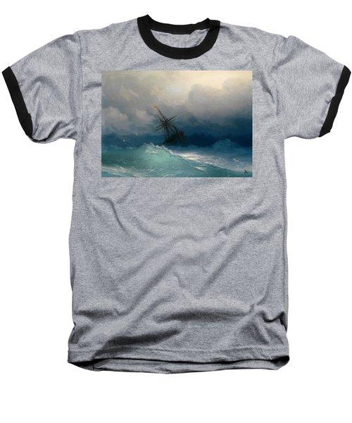 Ship On Stormy Seas Baseball T-Shirt