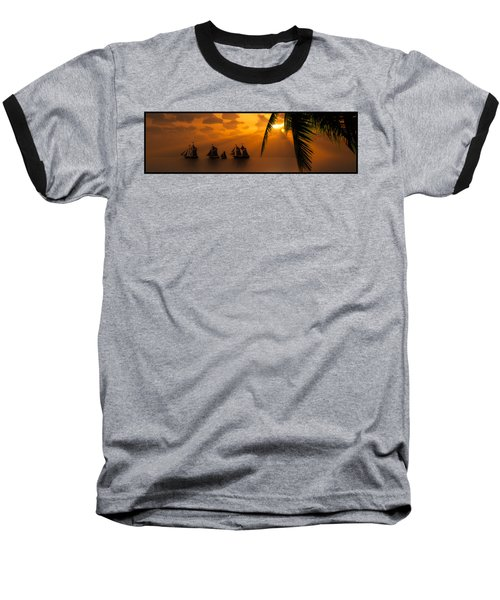Ships And The Golden Dawn... Baseball T-Shirt by Tim Fillingim