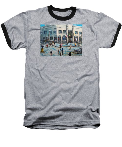 Shopping At Grover Cronin Baseball T-Shirt by Rita Brown