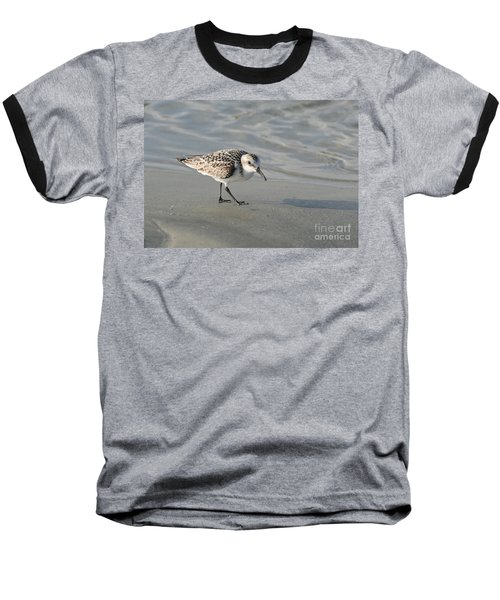 Shore Bird On Ocean Beach Baseball T-Shirt by Kevin McCarthy
