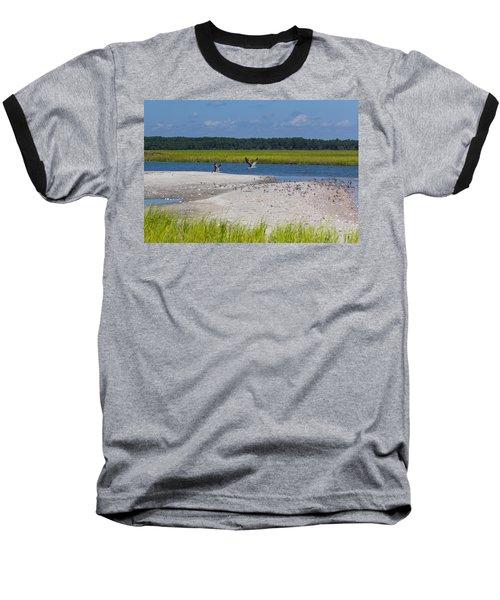 Shorebirds And Marsh Grass Baseball T-Shirt