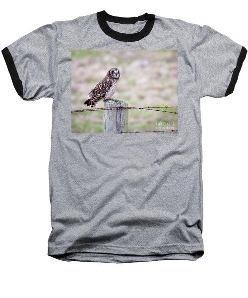 Short Eared Owl Boundary Bay Baseball T-Shirt
