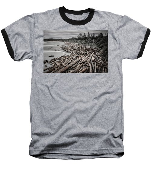 Shoved Ashore Driftwood  Baseball T-Shirt by Roxy Hurtubise