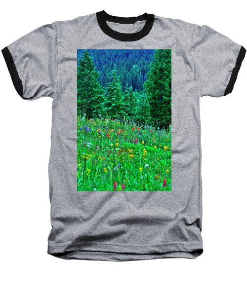 Baseball T-Shirt featuring the photograph Shrine Pass Wildflowers by Jeremy Rhoades