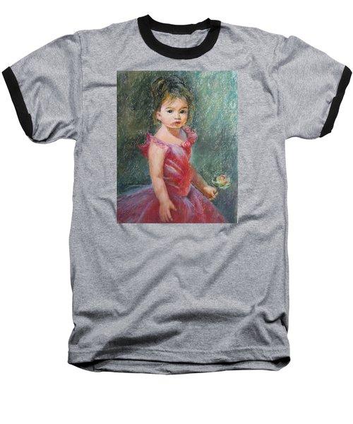 Baseball T-Shirt featuring the painting Shy Rose by Jieming Wang