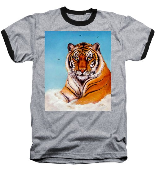 Baseball T-Shirt featuring the painting Siberian King Tiger by Bob and Nadine Johnston