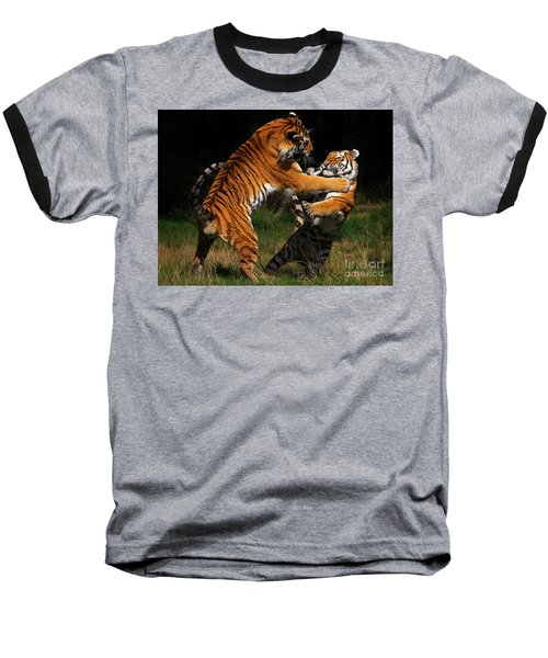 Baseball T-Shirt featuring the photograph Siberian Tigers In Fight by Nick  Biemans
