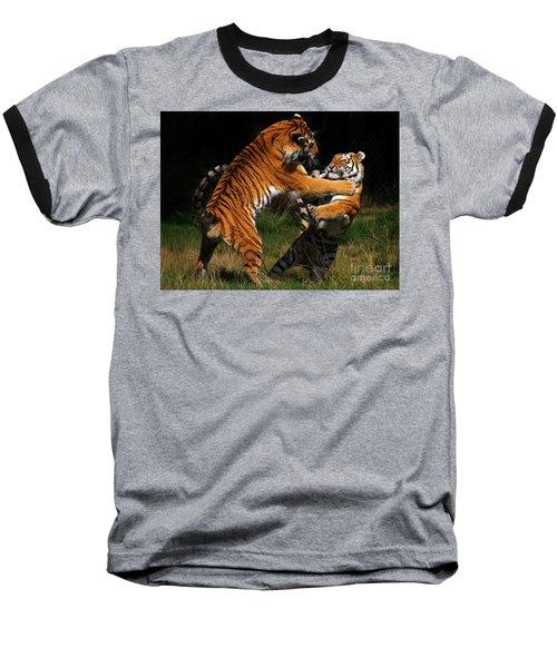 Siberian Tigers In Fight Baseball T-Shirt by Nick  Biemans