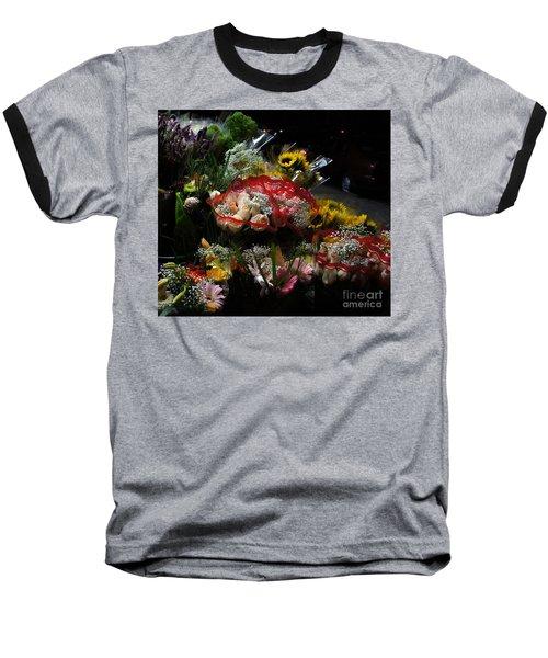 Baseball T-Shirt featuring the photograph Sidewalk Flower Shop by Lilliana Mendez