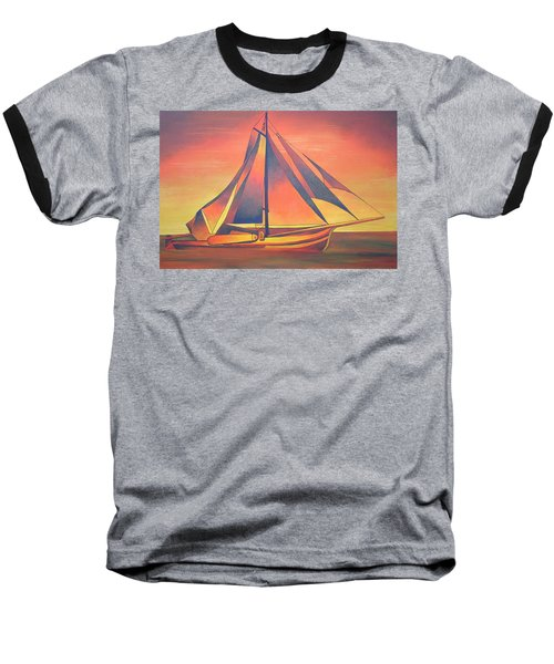 Baseball T-Shirt featuring the painting Sienna Sails At Sunset by Tracey Harrington-Simpson