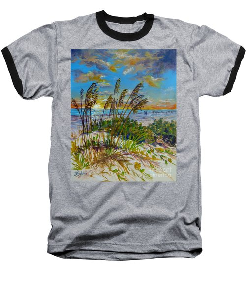 Siesta Beach Sunset Dunes Baseball T-Shirt