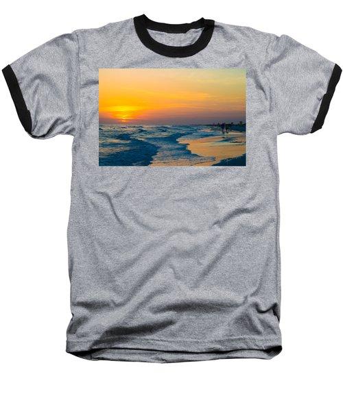 Siesta Key Sunset Walk Baseball T-Shirt by Susan Molnar