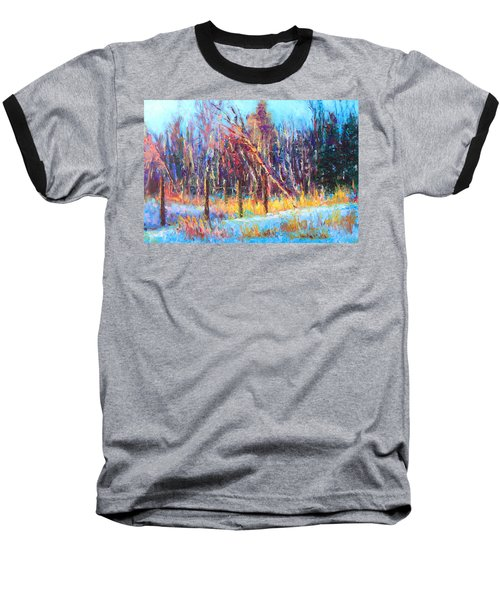 Signs Of Spring - Trees And Snow Kissed By Spring Light Baseball T-Shirt