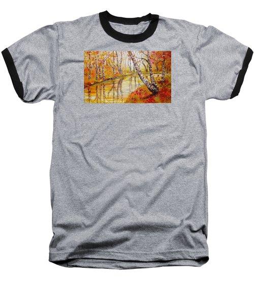 Baseball T-Shirt featuring the painting Silence by Nina Mitkova