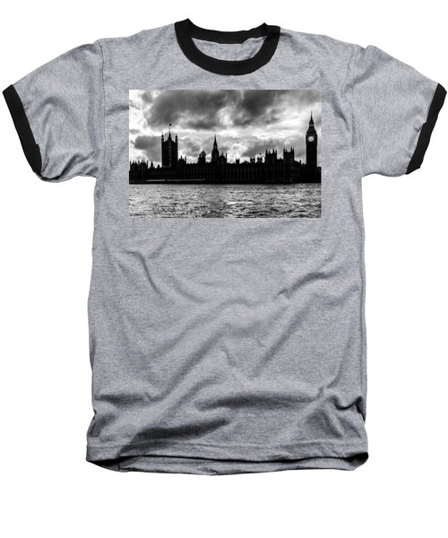 Silhouette Of  Palace Of Westminster And The Big Ben Baseball T-Shirt by Semmick Photo