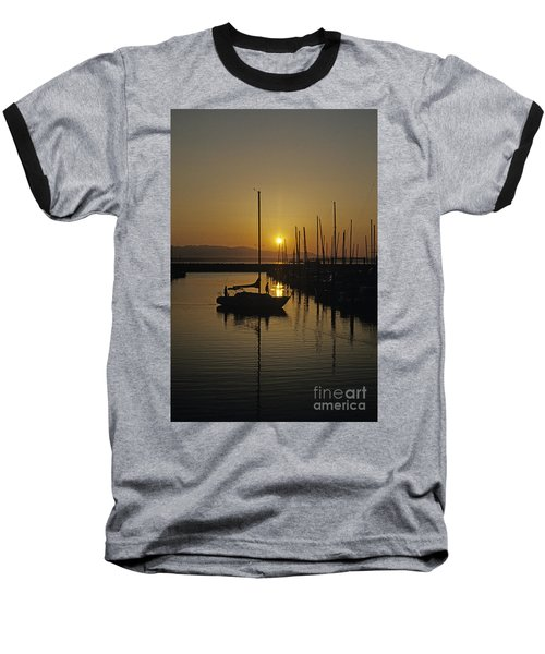 Silhouetted Man On Sailboat Baseball T-Shirt