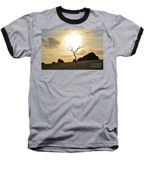 Silhouetted Tree At Dawn In Aruba Baseball T-Shirt