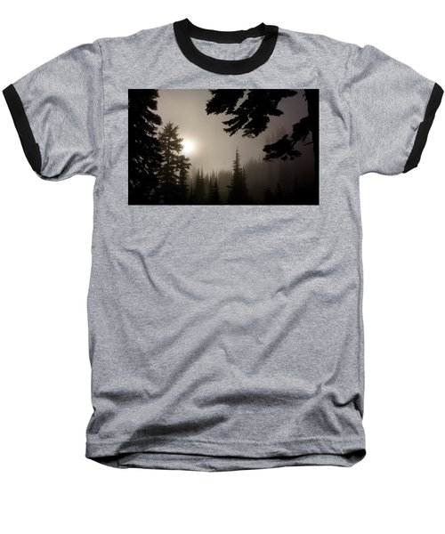 Silhouettes Of Trees On Mt Rainier Baseball T-Shirt