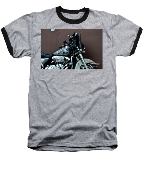 Baseball T-Shirt featuring the photograph Silver Harley Motorcycle by Imran Ahmed