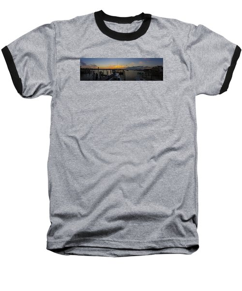 Silver Lake Sunset Panorama Baseball T-Shirt by Greg Reed