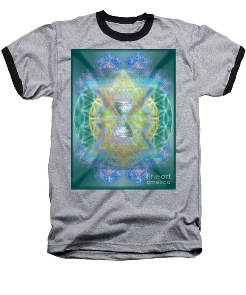 Silver Torquoise Chalicell Ring Flower Of Life Matrix Baseball T-Shirt