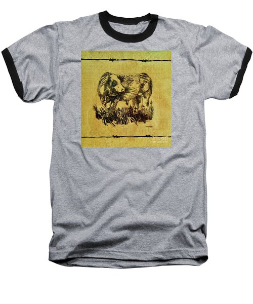 Baseball T-Shirt featuring the drawing Simmental Bull 12 by Larry Campbell