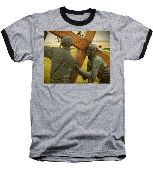 Simon Helps Jesus Carry His Cross Baseball T-Shirt