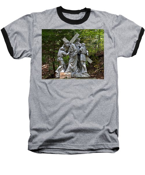 Simon Helps Jesus Baseball T-Shirt by Terry Reynoldson